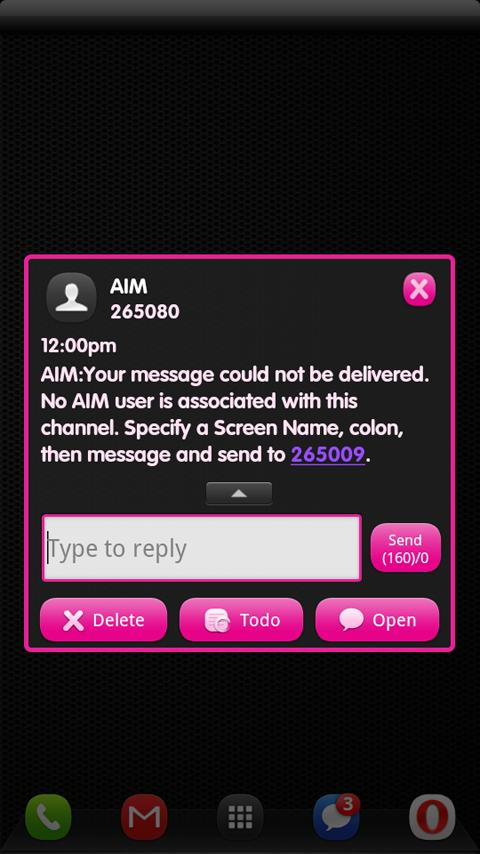 Dark Pink GO SMS Theme - screenshot