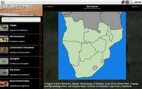 Safari List HD - South Africa- screenshot thumbnail