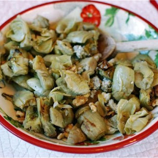 Grilled Marinated Artichoke Hearts with Blue Cheese & Walnuts