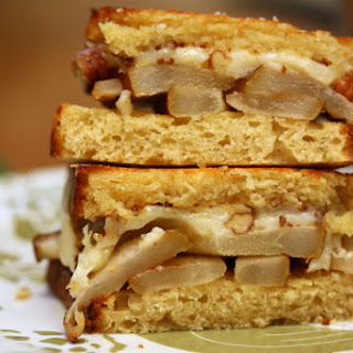 Grilled Cheddar Sandwich with Roasted Pear and Pecans.