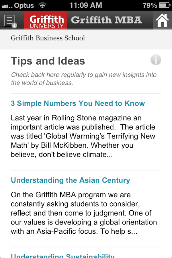 Griffith MBA- screenshot