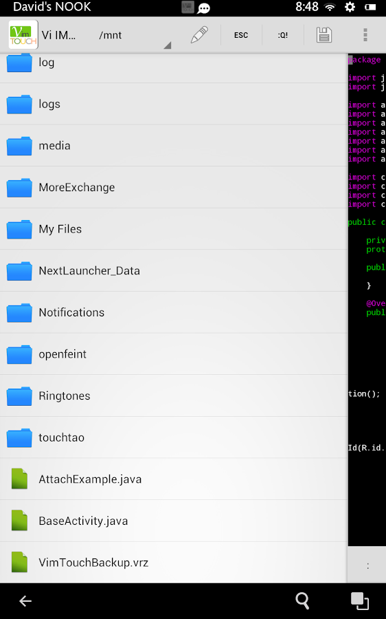 Vim Touch - screenshot