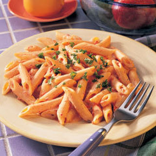 Penne With Red Pepper Alfredo Sauce.