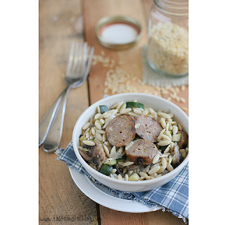 Orzo with Zucchini, Mushrooms and Sausage