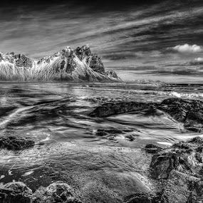 Eastern Iceland by Craig Brown - Black & White Landscapes ( clouds, waves, image, sea, ocean, landscape, photo, photography, iceland, mountains, sky, nature, ice, photographer, canon 5d mk ii, craig brown, rocks )