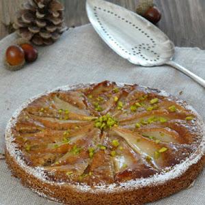 Pear Tart with Hazelnut Cream on a Shortbread Crust