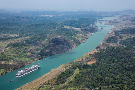 Celebrity_Infinity_Panama_Canal_3 - Celebrity Infinity cruises through the Panama Canal, one of its signature sailings.