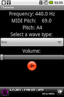 Screenshot of Theremin synth