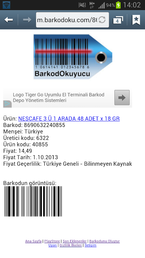 Barkod Okuyucu - screenshot