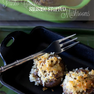 Panko Crusted Sausage Stuffed Mushrooms