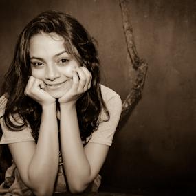 Pure Happiness  by Kavindu Anthony - Black & White Portraits & People ( vilage girl, girl, sri lankan beauty, black and white, true smile, sri lanka, smile, pure happiness,  )