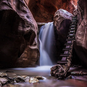 Red Canyon Waterfall by Givanni Mikel - Landscapes Waterscapes ( ladder, stream, red, waterfall, rock,  )