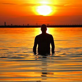 Waterman by Jeremy Church - People Street & Candids ( lake michigan, sunset, lighthouse, swimming )