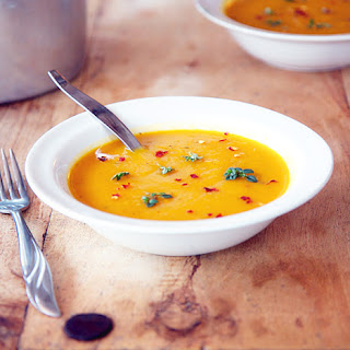 Spicy Butternut Squash And Sweet Potato Soup With Coriander.
