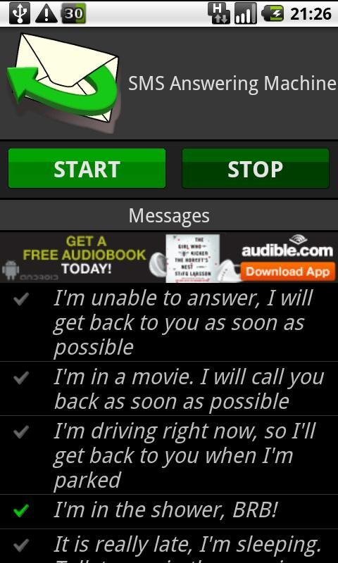 SMS Answering Machine Free - screenshot