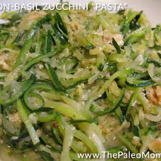 "Bacon-Basil Zucchini ""Pasta""."