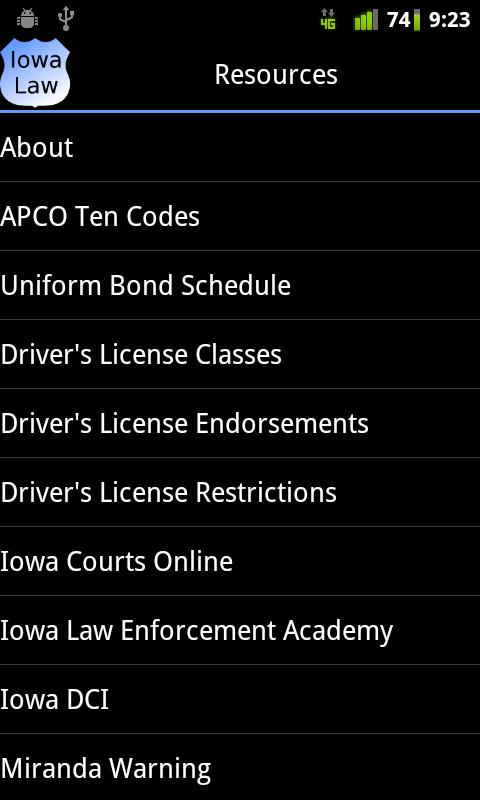 Iowa Police Field Reference- screenshot