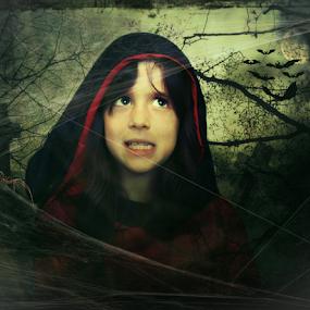 Little Red Riding Hood  by Diane Hallam - Digital Art People ( scary, little red riding hood, girl, illustrative, digital art, full moon, manipulation, errie,  )