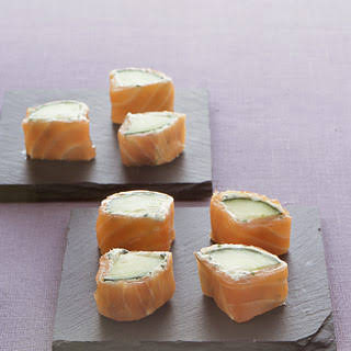 Smoked-Salmon and Cucumber Rolls.