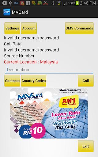 Callback IDD MVcard