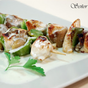 Chicken and Mushroom Skewers with White Cheddar Cheese Sauce
