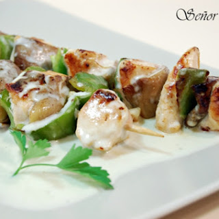Chicken and Mushroom Skewers with White Cheddar Cheese Sauce.