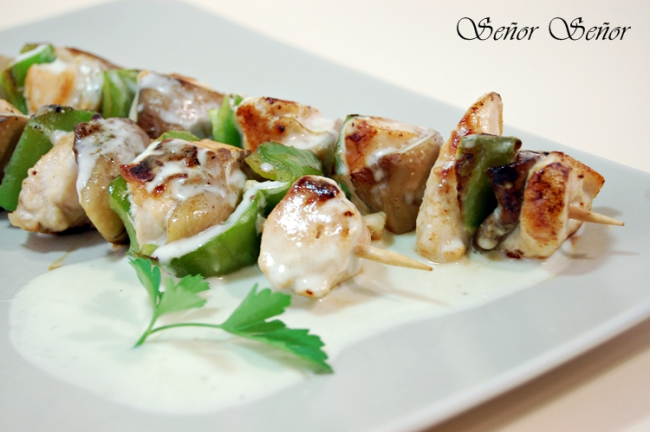 Chicken and Mushroom Skewers with White Cheddar Cheese Sauce Recipe