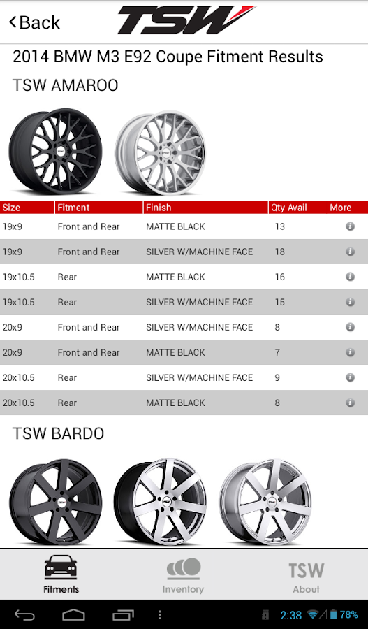 TSW Wheel Fitment Guide- screenshot