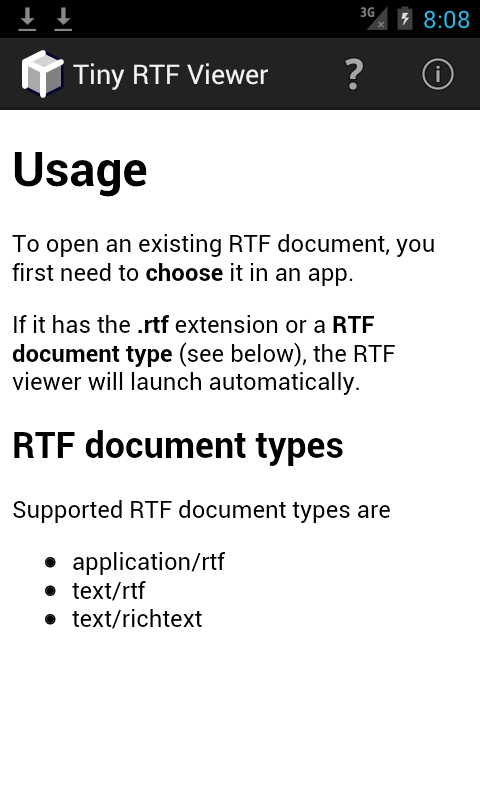 Tiny RTF Viewer- screenshot