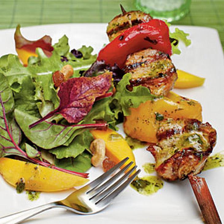 Tropical Salad with Pork Kabobs and Citrus-Chimichurri Vinaigrette Recipe