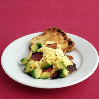 Scrambled Eggs with Bacon and Avocado.