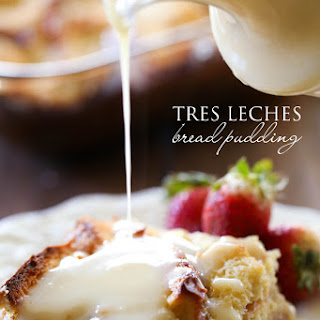 Tres Leches Bread Pudding with Vanilla Cream Sauce.