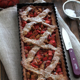 Rhubarb Pie (Speculoos Cookie Dough) and Strawberry Salad with Lemon Verbena