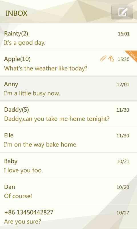 GO SMS Pro Cornner theme screenshot #3