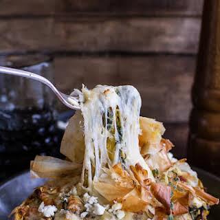 Healthy Spanakopita Stuffed Roasted Garlic Spaghetti Squash + Havarti Bowls.