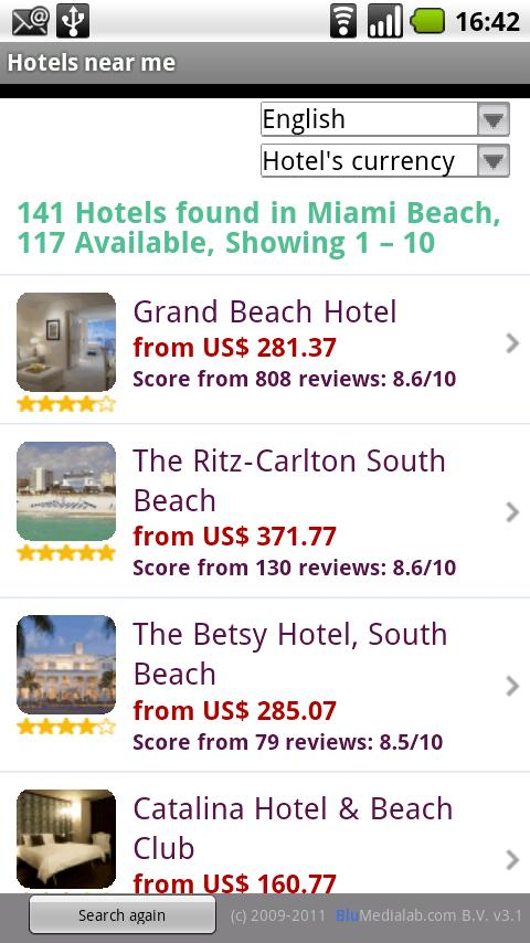 Hotels near me - screenshot