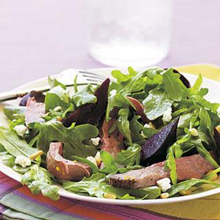 Roast Beef, Beet, and Arugula Salad with Orange Vinaigrette.