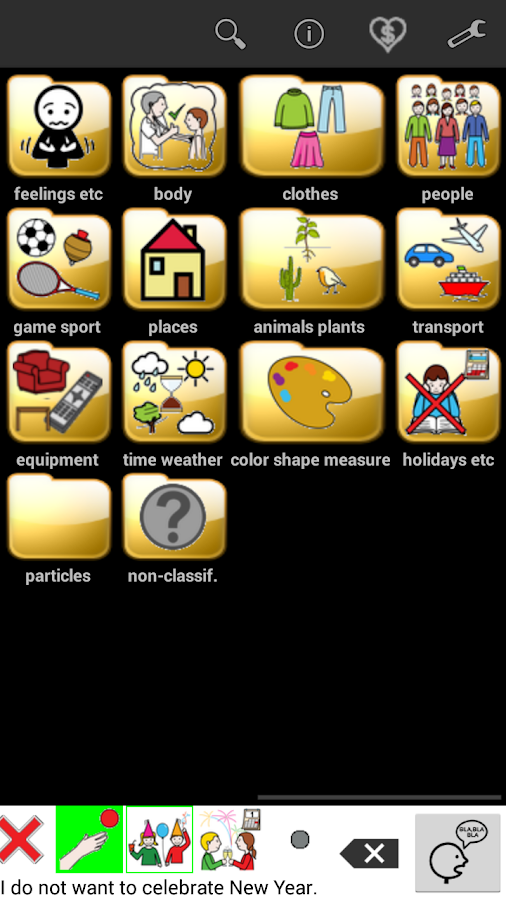 AAC speech communicator- screenshot
