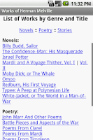 Screenshot of Works of Herman Melville
