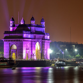 gateway of India by Deven Dadbhawala - Buildings & Architecture Statues & Monuments ( , colorful, mood factory, vibrant, happiness, January, moods, emotions, inspiration, relax, tranquil, relaxing, tranquility, city at night, street at night, park at night, nightlife, night life, nighttime in the city, #GARYFONGDRAMATICLIGHT, #WTFBOBDAVIS )