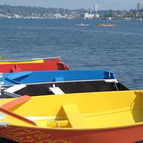 Bright coloured boats by Bonnie Lea - Transportation Boats