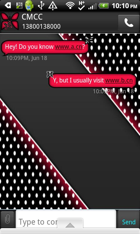 GO SMS THEME/RedPolkaDot- screenshot