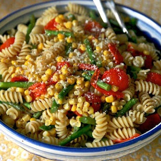 Pasta with Corn, Tomato, and Asparagus.