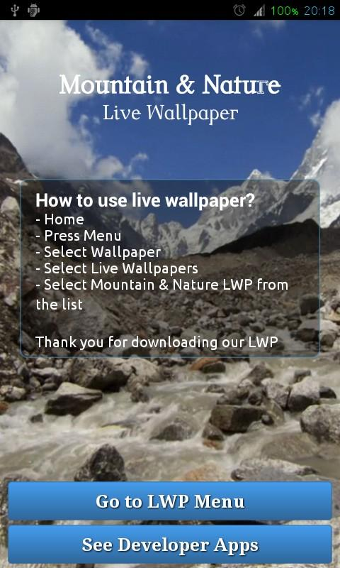 Mountain Nature Live Wallpaper - screenshot