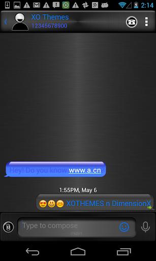 GO SMS Pro Blue Metal Theme