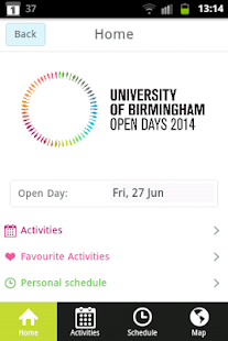 UoB Open Day Application - screenshot thumbnail