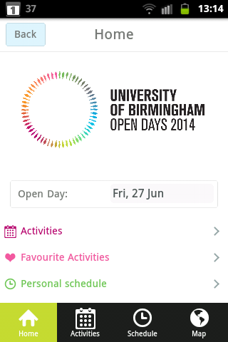 UoB Open Day Application - screenshot