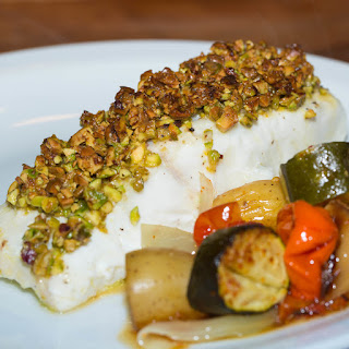 Pistachio crusted Halibut.
