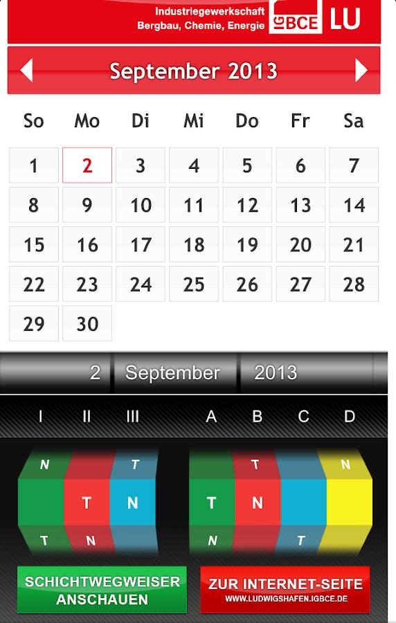 IG BCE Schichtkalender BASF SE - screenshot