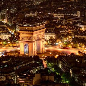 Arc de Triomphe by Steve Densley - City,  Street & Park  Night ( paris, night view, night photography, hdr, night scene, nighttime, night, long exposure, night shot, nightscapes, nightscape,  )
